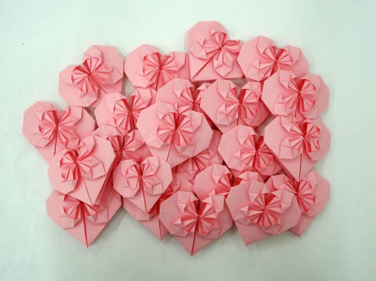 fancy origami hearts by yours truly!