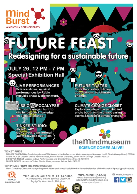Future Feast poster by The Mind Museum, which highlights activities